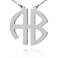 Sterling Silver Two Initials Block Monogram Necklace
