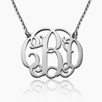 Sterling Silver  Initial Monogram Necklace
