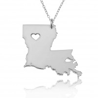 Personalized Louisiana State USA Map Necklace With Heart & Name in Sterling Silver