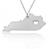 Personalized Kentucky State Necklace in Sterling Silver
