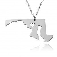 Customized Maryland State USA Map Necklace in Sterling Silver