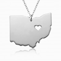 Customized Ohio State USA Map Necklace in Sterling Silver