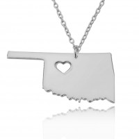 Customized Oklahoma State USA Map Necklace in Sterling Silver