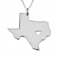 Customized Texas State USA Map Necklace in Sterling Silver
