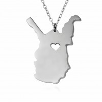 Customized West Virginia State USA Map Necklace in Sterling Silver