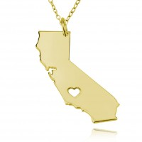 Personalized California State  USA Map Necklace in Gold Plated