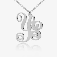 Sterling Silver Fancy Monogram Necklace With Two Initials