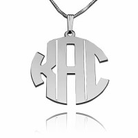 Sterling Silver Block Monogram Necklace with 3 Initials