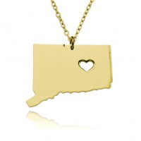 Personalized Connecticut State USA Map Necklace in Gold Plated