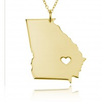 Personalized Georgia State USA Map Necklace in Gold Plated