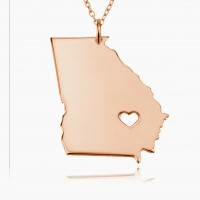 Personalized Georgia State USA Map Necklace in Rose Gold Plated