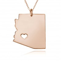 Personalized Arizona State Necklace in Rose Gold Plated