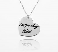 Engraved Heart  Signature Necklace in Sterling Silver