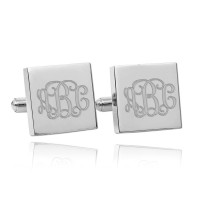 Personalized Square Monogram Wedding Cufflinks in Sterling Silver