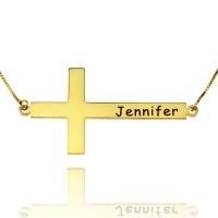 Horizontal Cross Necklace With Any Words Engraved