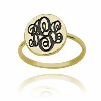 personalized Gold Plated Initial Monogram Ring