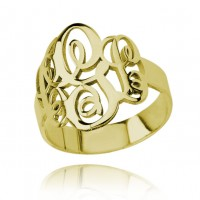 Gold Plated Personalized Initials Monogram Ring