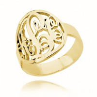 Gold Plated Circle Initials Monogram Ring