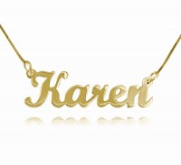 18k Gold Script Nameplate Necklace