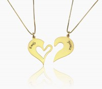 Gold Engraved Name Heart Necklace