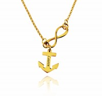 Gold Plated  Infinity Name Necklace With Anchor