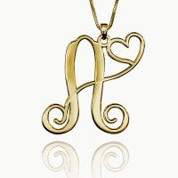 Personalized One Letter With  Heart Necklace