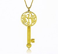 3 Initials Key Necklace in Gold Plated