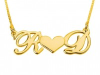 Gold Heart Two Initials Necklace