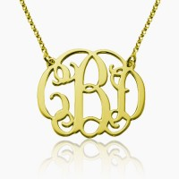 personalized Gold Plated Initial Monogram Necklace