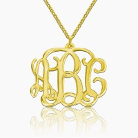 Personalized Small Monogram Necklace in Gold Plating