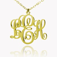 Personalized Fancy Monogram Necklace In 18k Gold Plated