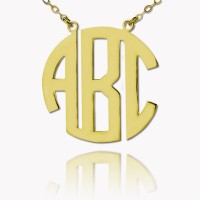 Personalized Gold Plated Block Monogram Necklace