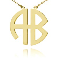 Gold Plated Two Initials Block Monogram Necklace