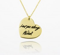 Engraved Heart  Signature Necklace in Gold Plated