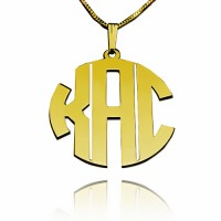 Personalized Block Monogram Necklace in Gold Plating