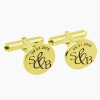 Personalized  Date and Initials Cufflinks in Gold Plated