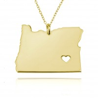 Gold Plated Customized Oregon State Necklace