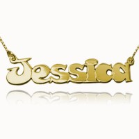 Comic Style Name Necklace In Gold