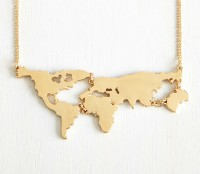 World Map Necklace In 18k Gold Plating