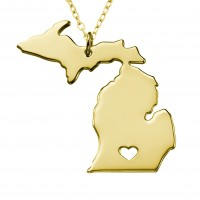 Personalized Michigan State USA Map Necklace in Gold Plated