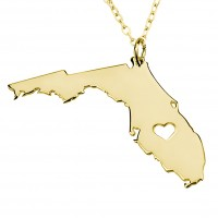 Personalized Florida State USA Map Necklace in Gold Plated