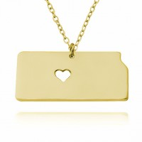Gold Plated Personalized Kansas State USA Map Necklace With Heart & Name