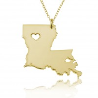 Gold Plated Personalized Louisiana State USA Map Necklace With Heart & Name