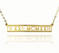 Gold Plated Personalized Roman Numeral Bar Necklace