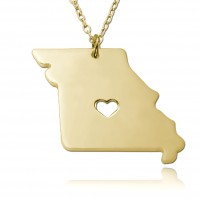 Gold Plated Missouri State USA Map Necklace With Heart & Name