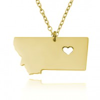 Customized Montana State USA Map Necklace in Gold Plated