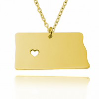 Customized North dakota  State USA Map Necklace in Gold Plated