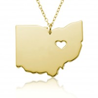 Customized Ohio State USA Map Necklace in Gold Plated