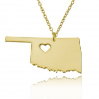 Customized Oklahoma State USA Map Necklace in Gold Plated