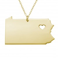 Customized Pennsyivania State USA Map Necklace in Gold Plated